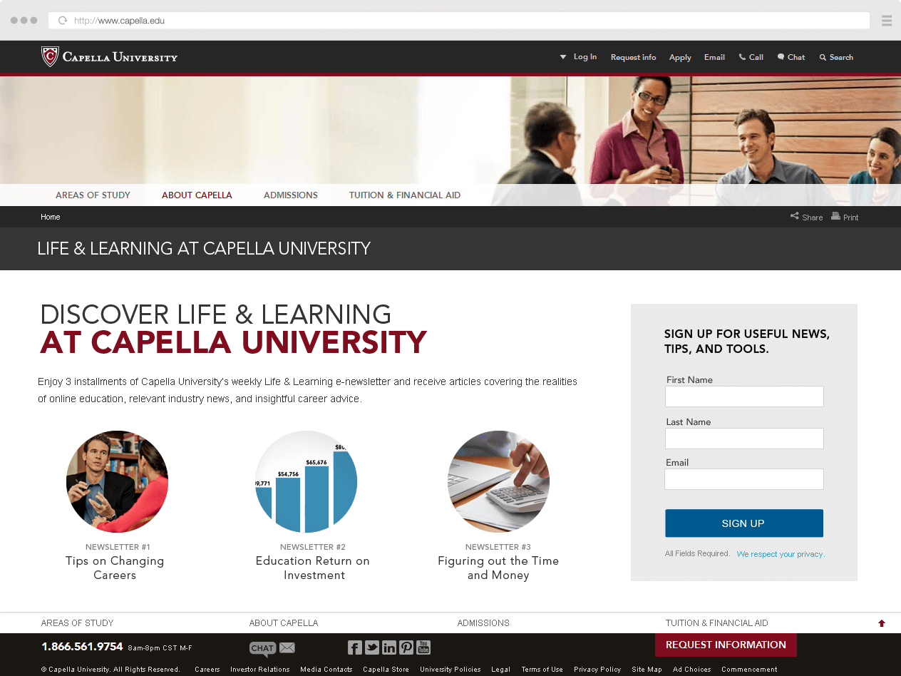Capella.edu Newsletter Sign-up