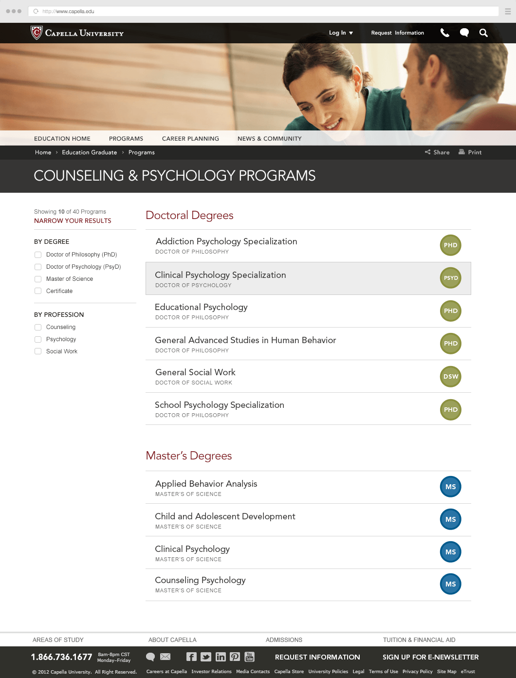Capella.edu List of Degree Programs